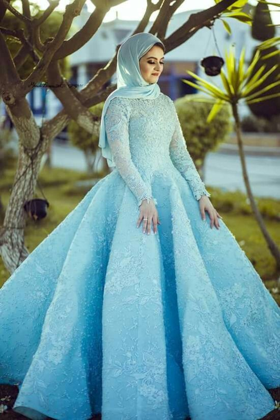 Blue Ball Gown Muslim Wedding Dress With Veil