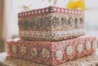 Krispie Rice Wedding Cake Idea Decorated With Ribbons And Confetti Circles