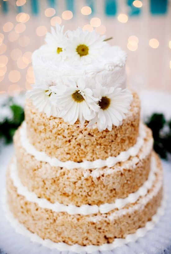Krispie Rice Wedding Cake Idea With Cream And A Buttercream Tier