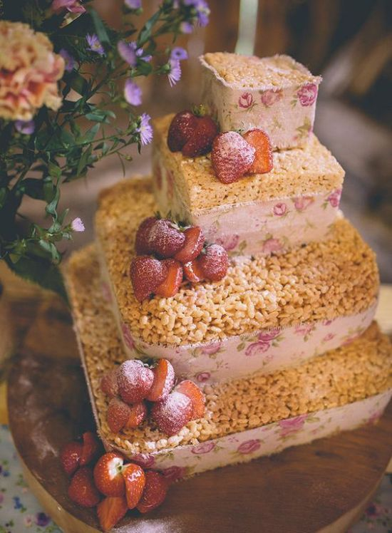Krispie Rice Wedding Cake Idea With Floral Ribbons