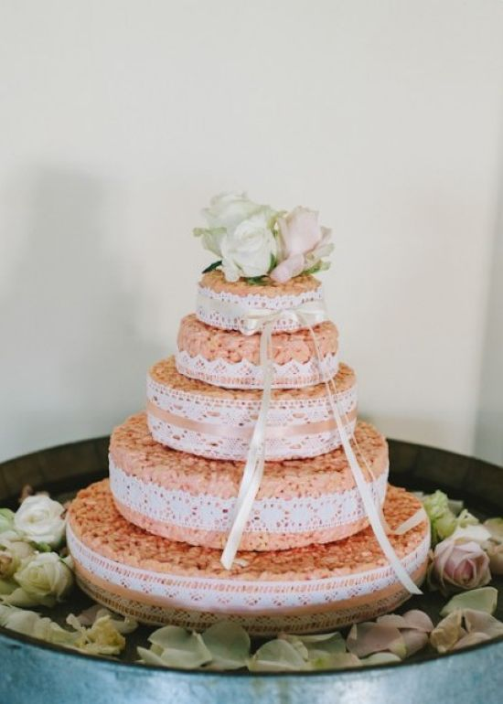Krispie Rice Wedding Cake Idea With Lace Ribbons