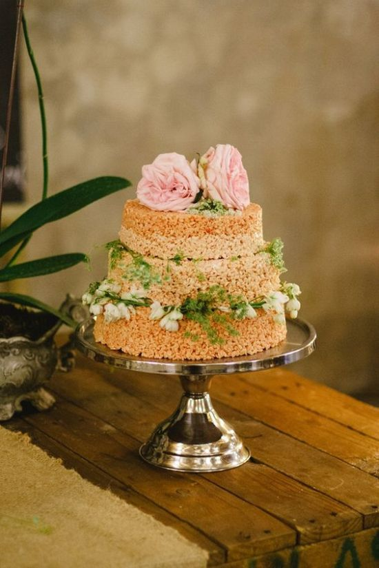 Krispie Rice Wedding Cake Idea With Pink Blooms