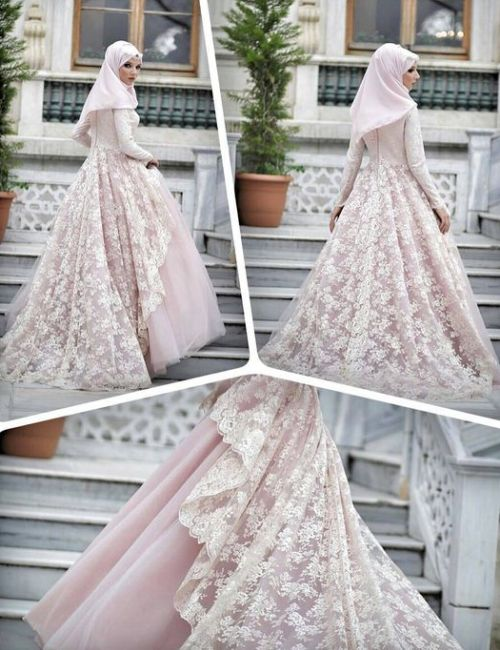 Modern Light Colored Muslim Wedding Dress With Brocade