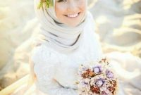 Modern White Muslim Wedding Dress