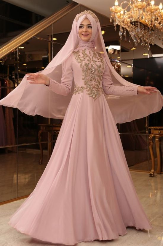 Muslim A-line Pink Wedding Dress With Long Sleeves