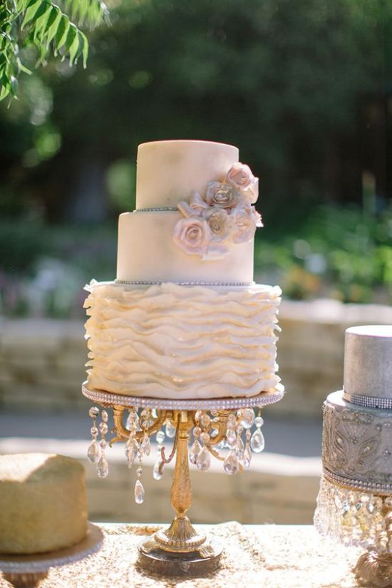 Neutral Vintage Wedding Cake With A Textural Tier