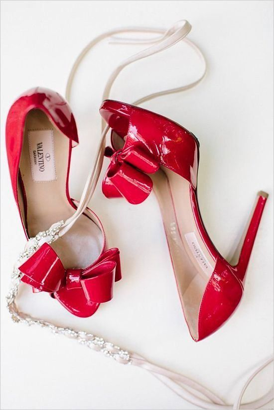 Valentino Red Leather Peep Toe Pumps