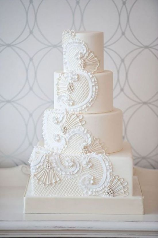 Vintage Inspired Wedding Cake With Beads And Ruffles