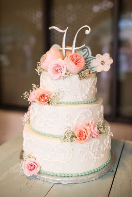 Vintage Wedding Cake With A Metallic Monogram