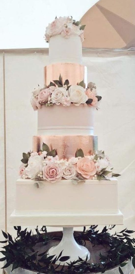 Vintage Wedding Cake With Blush Tiers