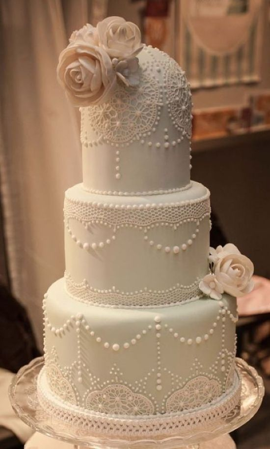 Vintage Wedding Cake With Sugar Blooms And Beads