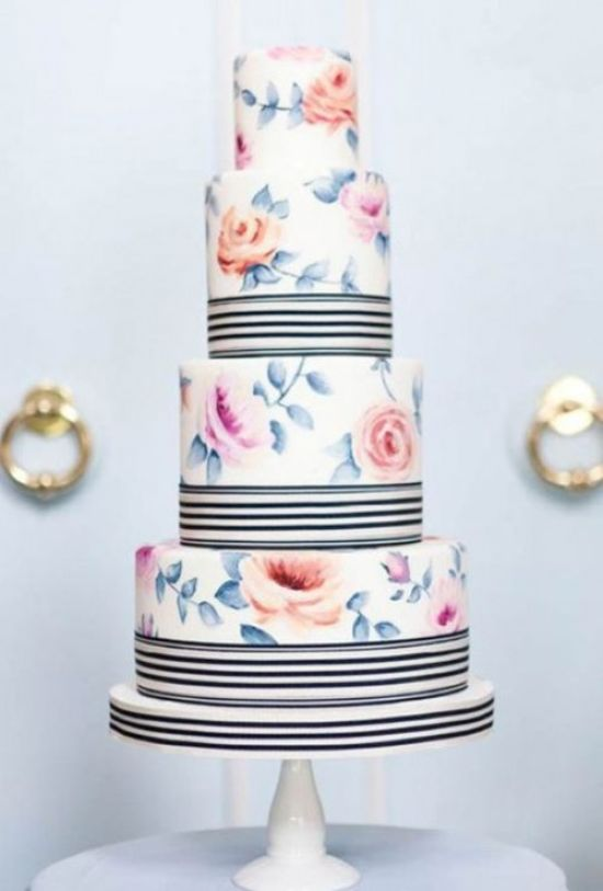 Vintage Wedding Cake With White Stripes