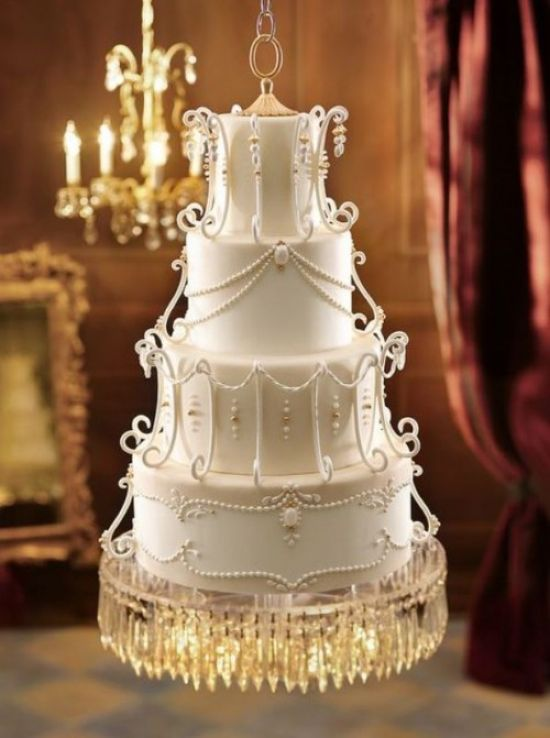 Vintage White Inspired Wedding Cake