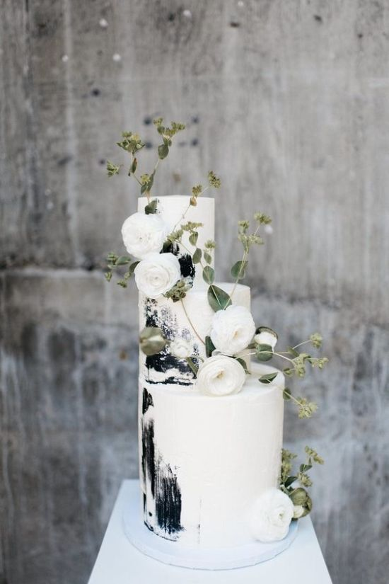 Black And White Brushstroke Wedding Cake With Greenery