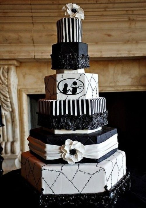 Black And White Halloween Wedding Cake With Geometric Tiers
