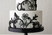 Black And White Wedding Cake With Black Lace