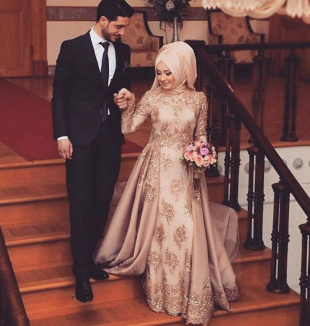 Brown Muslim Wedding Dress With Embroidery Details