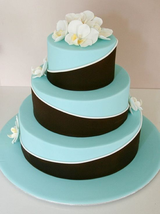 Chocolate Brown And Tiffany Blue Wedding Cake Idea With White Orchids