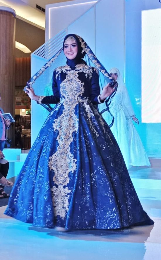 Islamic Ball Gown Blue Wedding Dress