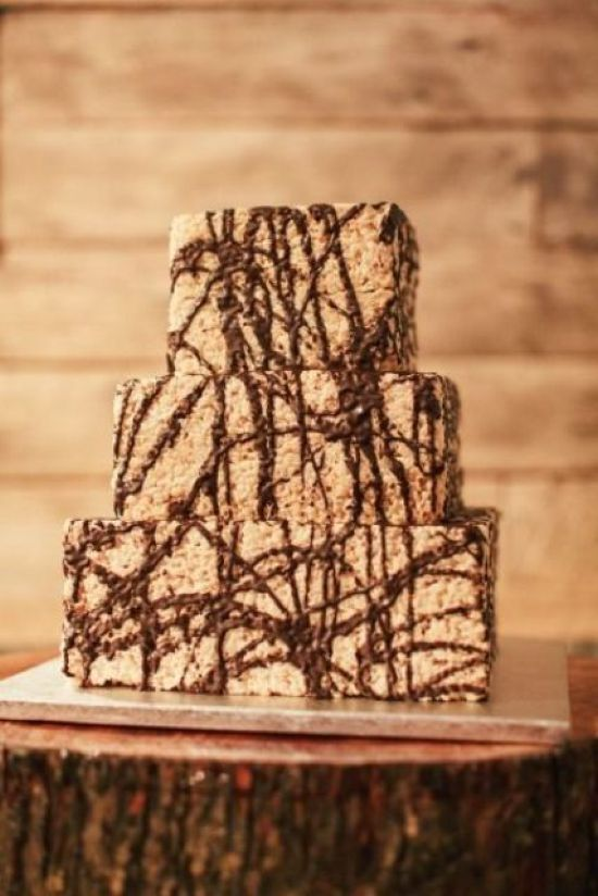 Krispie Race Wedding Cake Decor Idea With Chocolate Drip