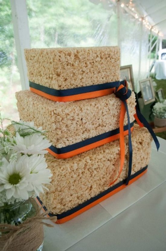 Krispie Race Wedding Cake Decor Idea With Navy And Orange Ribbons