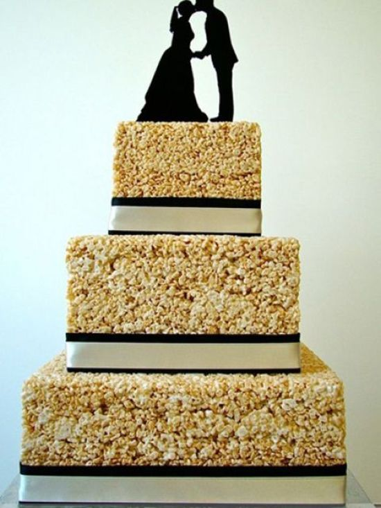 Krispie Race Wedding Cake Decor Idea With Silhouette Cake Toppers