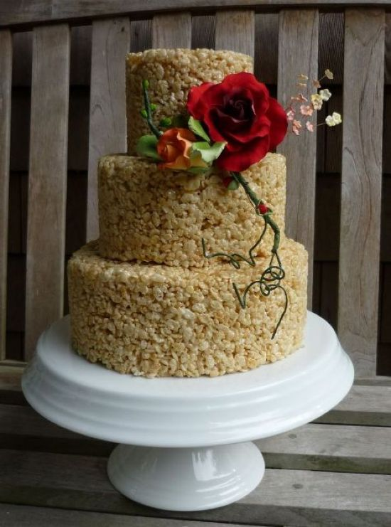 Krispie Race Wedding Cake Decor Idea With Sugar Blooms And Greenery