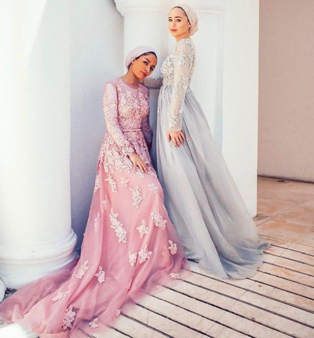 Pink And Pastel Blue Muslim Wedding Dresses With Lace And Embroidery