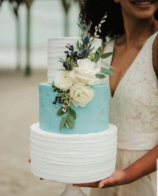 Textural Wedding Cake Idea With White And Tiffany Blue Tiers