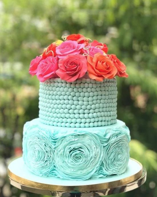Tiffany Blue Wedding Cake Idea With A Bead Covered Tier