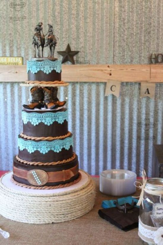 Whimsical Chocolate Wedding Cake Decor With Ribbons