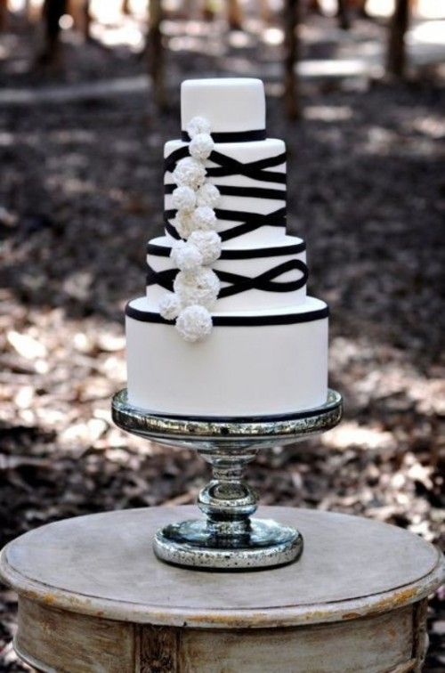 White Wedding Cake Decor With Black Ribbons