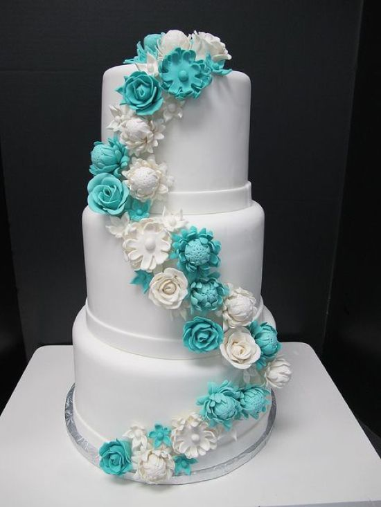 White Wedding Cake Decor With Neutral And Tiffany Blue Sugar Flowers