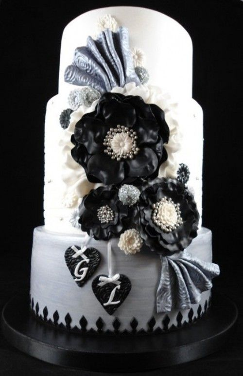 White Wedding Cake With Black And Grey Sugar Blooms Plus Bows