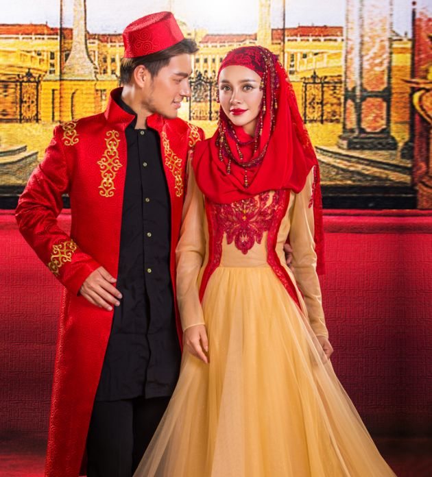 Islamic Red And Gold A-line Wedding Dress