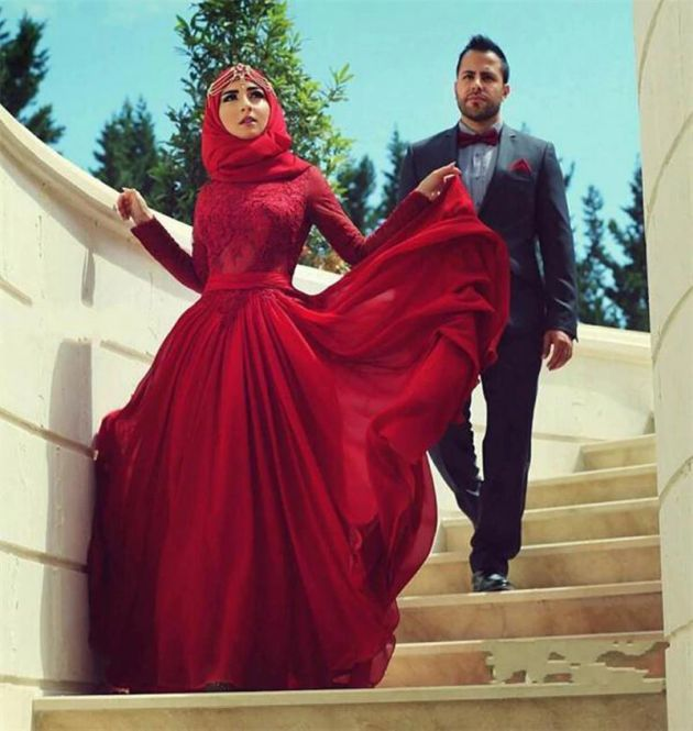Islamic Red Wedding Dress With Floor Length