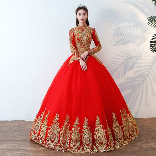 Red Islamic Wedding Dress With Ball Gown