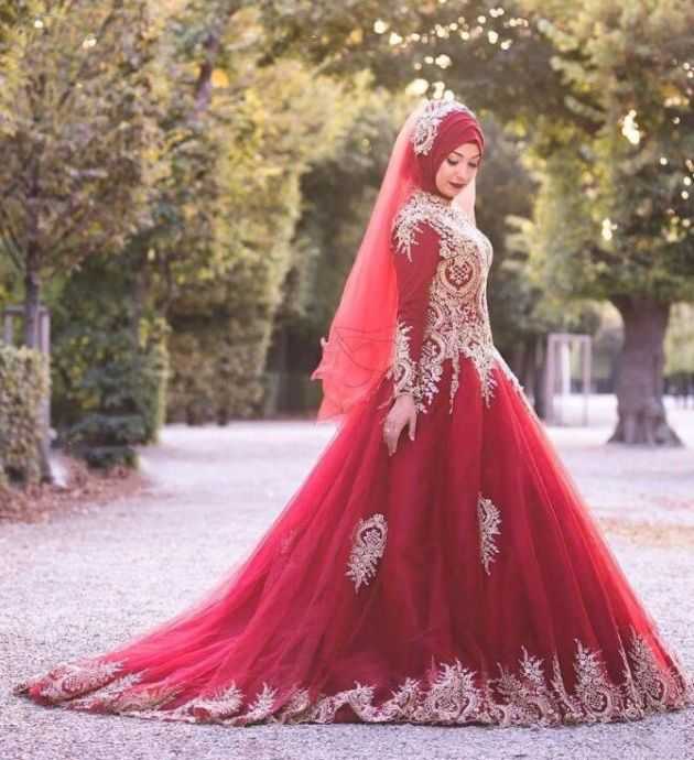 Ball Gown Red Islamic Wedding Dress