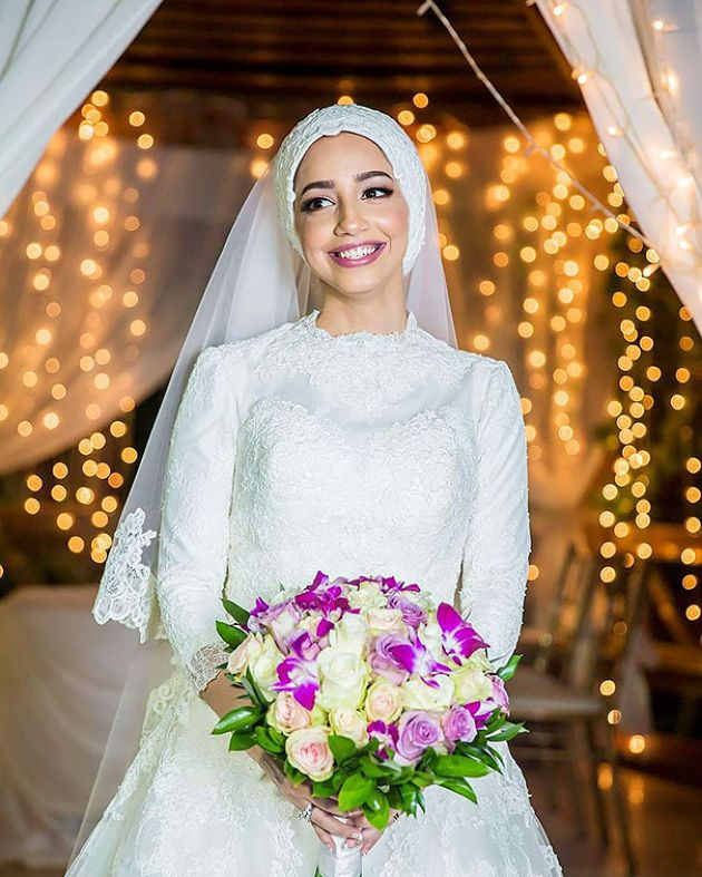 Traditional Lace Muslim Wedding Dress With Long Veil