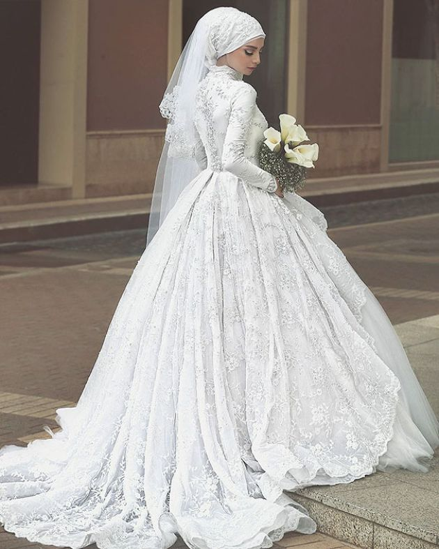 Traditional Muslim Ball Gown Wedding Dress With Lace
