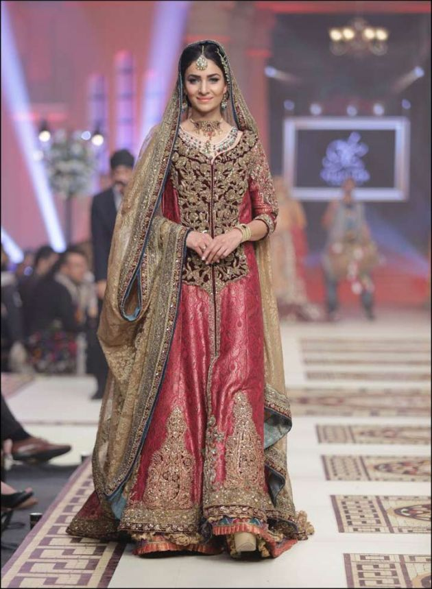 Traditional Muslim Wedding Dress In Gold And Red Accent