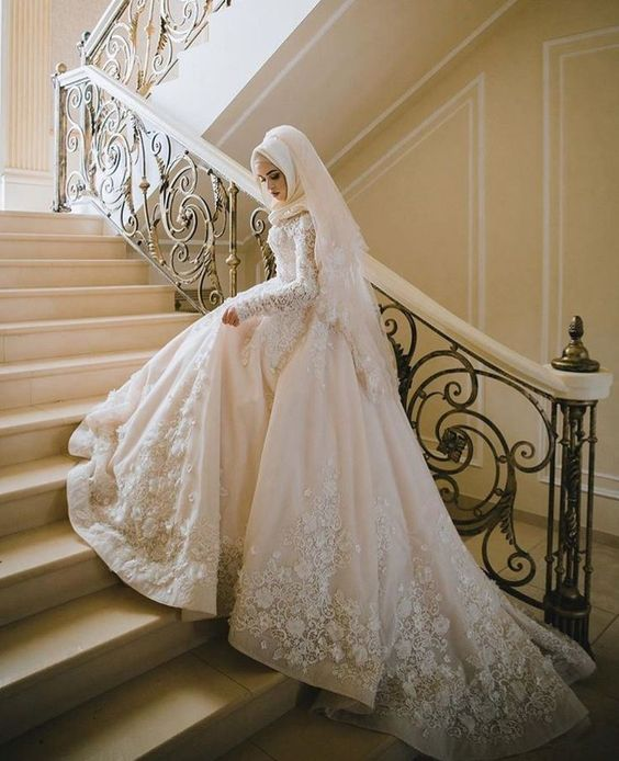 White Ball Gown Muslim Wedding Dress With Lace