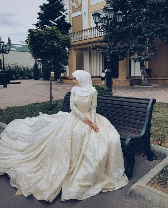 White Lace Ball Gown Muslim Wedding Dress With Veil