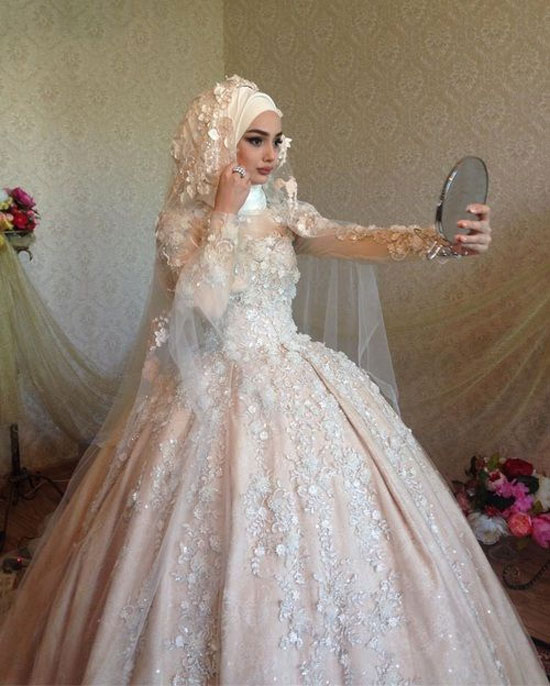 Modern Muslim Ball Gown Hijab Wedding Dress With Embellishments