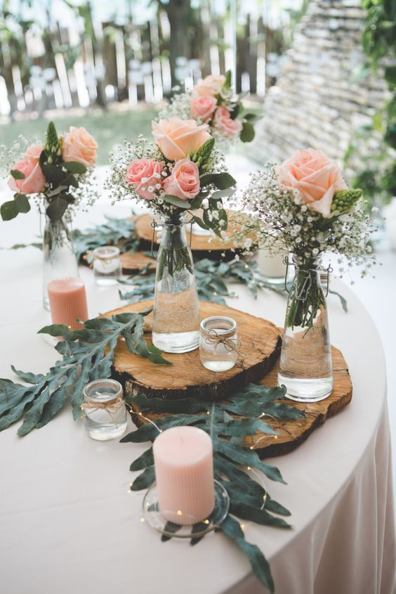 Simple DIY Wedding Decoration With Bottles And Leaves