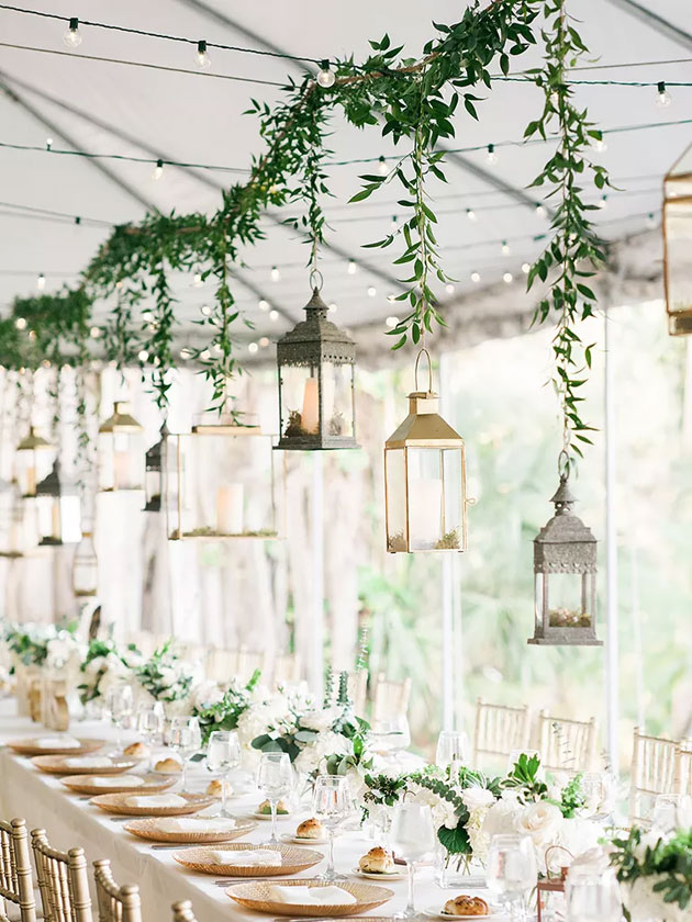 Simple Wedding Decoration Idea With Hanging Lanterns