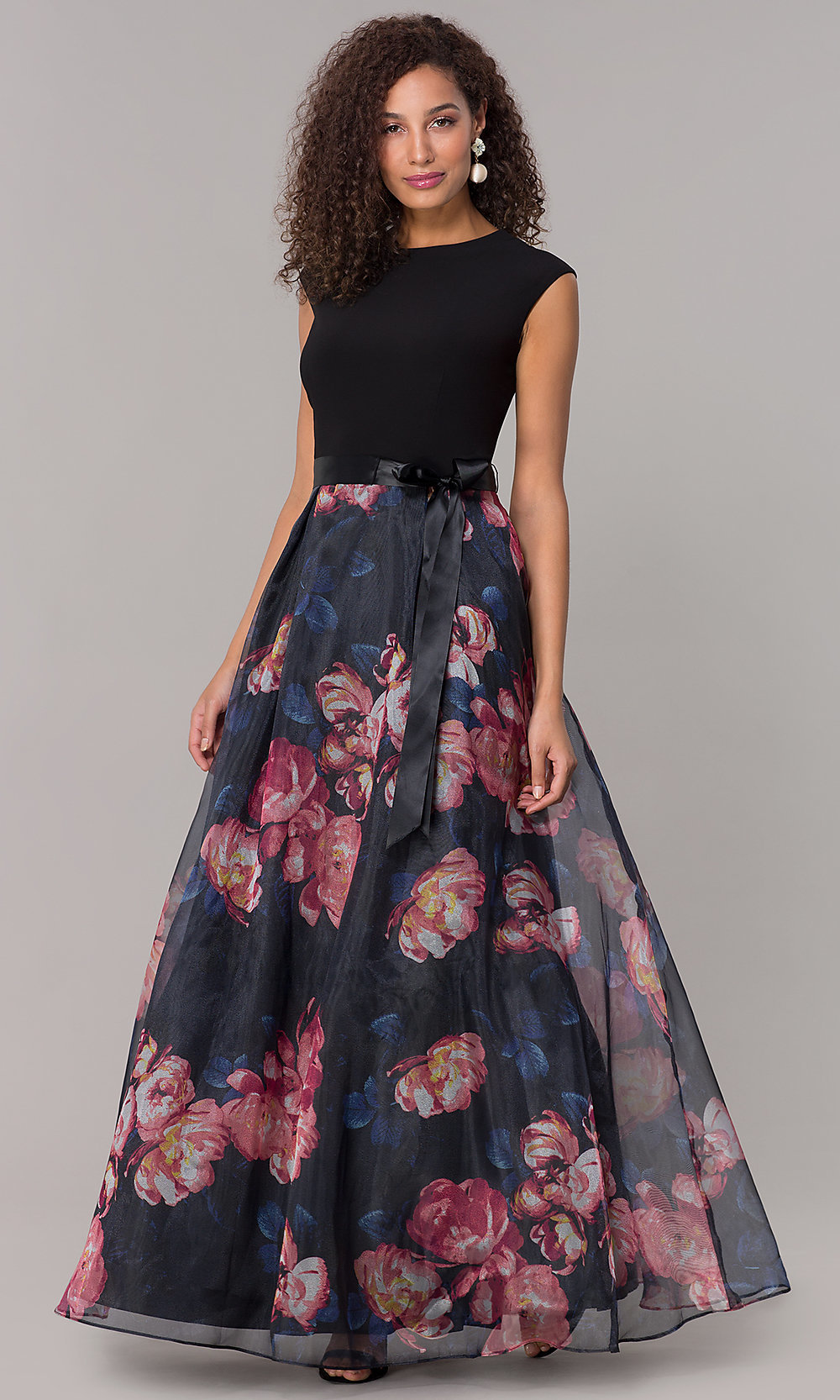 Long Formal Wedding-Guest Dress with Floral Print