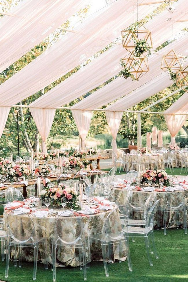Backyard Wedding Tent Decoration With Ghost Chairs