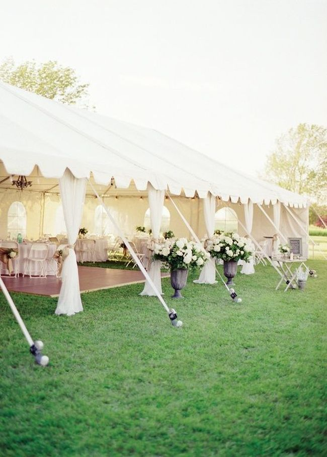 Backyard Wedding Tent Decoration With Large Potted Plants