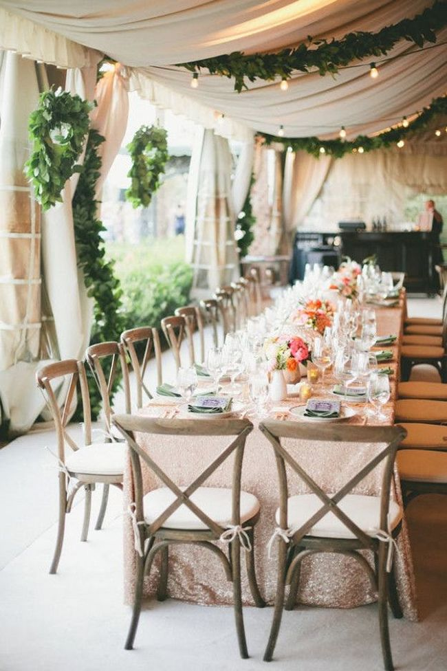 Backyard Wedding Tent Decoration With Wooden Chairs